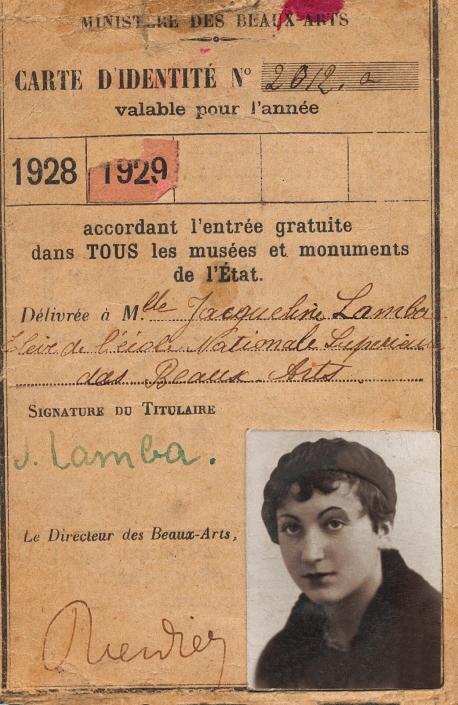 Carte d'étudiante, 1928-1929