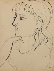 Portrait d'Aube, 1955. Encre de Chine sur papier, 54 x 41 cm