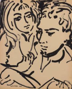 Portrait d'Yves et Aube, 1960. Encre de Chine, 54 x 44 cm