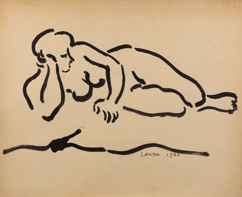 Sans titre (nu allongé), 1956. Encre de Chine sur papier, 57 x 63,5 cm