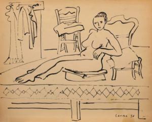 Sans titre (Nu et chaises), 1956. Encre de Chine sur papier, 53,8 x 43 cm