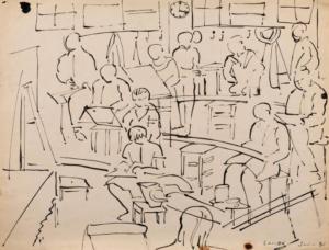 Sans titre (les élèves de l'atelier de la Grande Chaumière), 1956. Encre de Chine sur papier, 41 x 54 cm