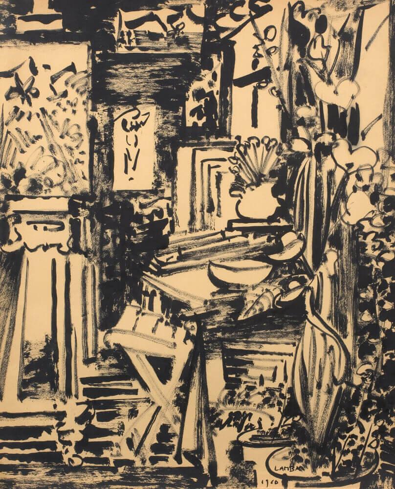 Sans titre (Atelier de la rue Gay Lussac), 1960. Encre de Chine, 53,5 x 44 cm