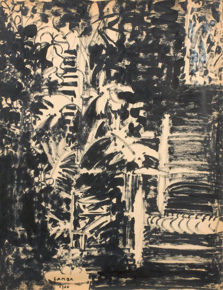 Sans titre (Atelier de la rue Gay Lussac),1960. Encre de Chine, 68,5 x 49 cm