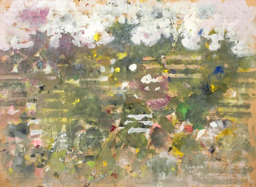 Cultures de Biot, 1962. Huile et gouache sur papier journal collé sur carton, 50 x 66,7 cm