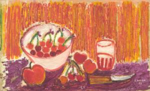 Sans titre (nature morte aux cerises), 1955. Huile sur toile, 37 x 60 cm