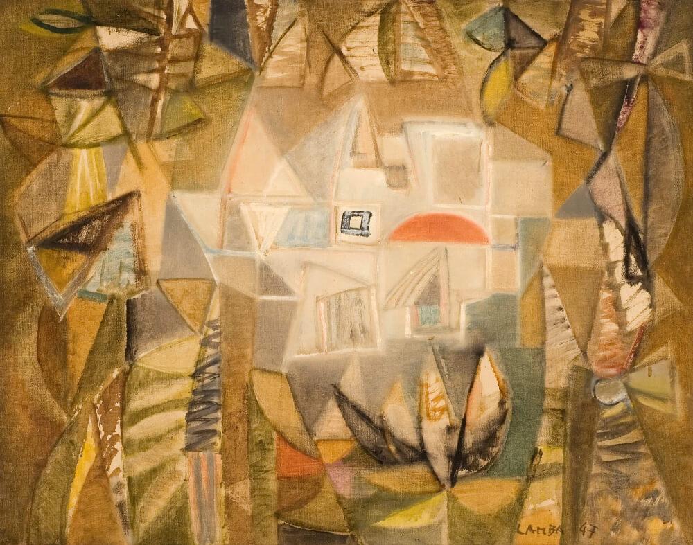 Intérieur d'une maison la nuit, 1947. Huile sur toile, 55 x 70,5 cm