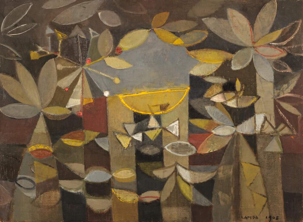 Coupe orange sur forêt noire, 1948. Huile sur toile, 56,5 x 77 cm