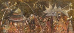 Tipis indiens, 1951. Huile sur toile, 85 x 188 cm