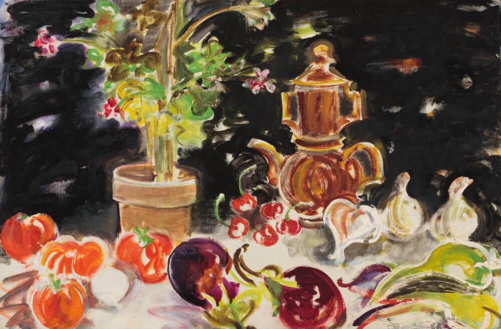 Sans titre (nature morte, cafetière et légumes), 1960. Huile sur toile, 52,5 x 79 cm