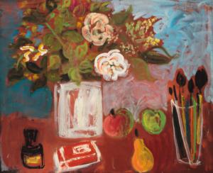 Sans titre (nature morte, fleurs et Highlife), 1960. Huile sur toile, 48,5 x 60 cm