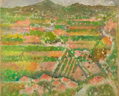 Sans titre, (Paysage de Simiane), 1963. Huile sur papier marouflée sur toile, 120,5 x 135 cm