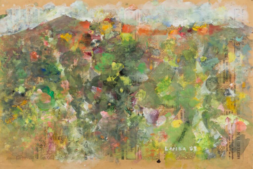 Sans titre (Paysage de Simiane), 1963. Gouache sur papier journal, 33 x 49 cm.