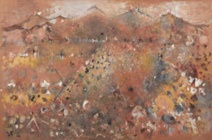 Sans titre (Montagne brunes), 1967. Huile sur papier collé sur contreplaqué, 80 x 120,5 cm