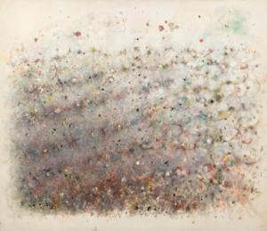 Sans titre (Paysage mauve pointilliste) , 1970. Huile sur toile, 132 x 153,5 cm