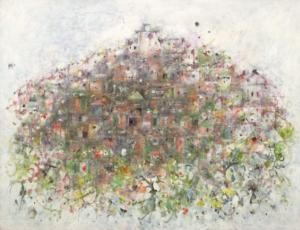 Sans titre (Village de Simiane), 1971. Huile sur toile, 88,5 x 116 cm