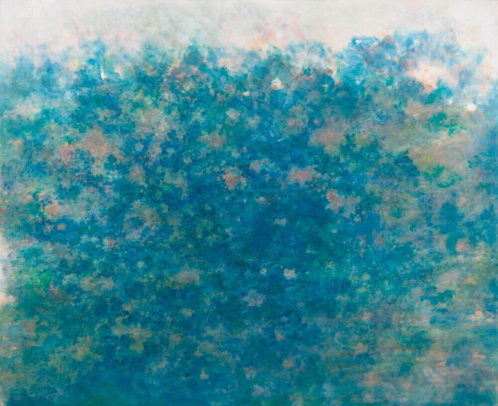 Sans titre (Nuages rose et turquoise), 1980. Huile sur toile, 116 x 140 cm