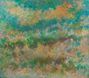 Sans titre (Ciel rose émeraude), 1980. Huile sur papier, 120 x 138 cm