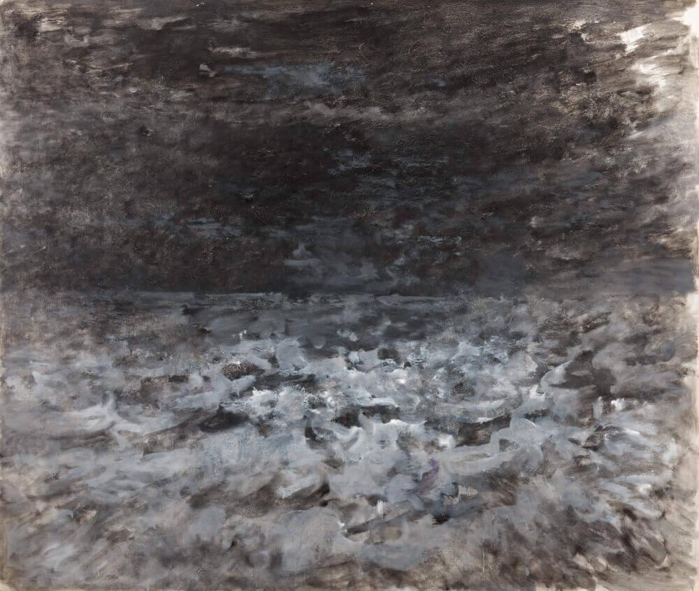 Sans titre (Ciel noir), 1985. Huile sur toile, 124 x 146 cm