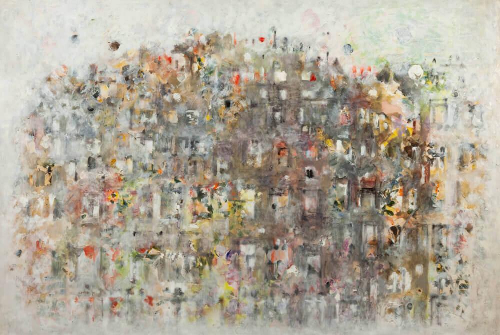 Ville de jour, vue de Bonne Nouvelle, 1970. Huile sur papier,73 x 108 cm