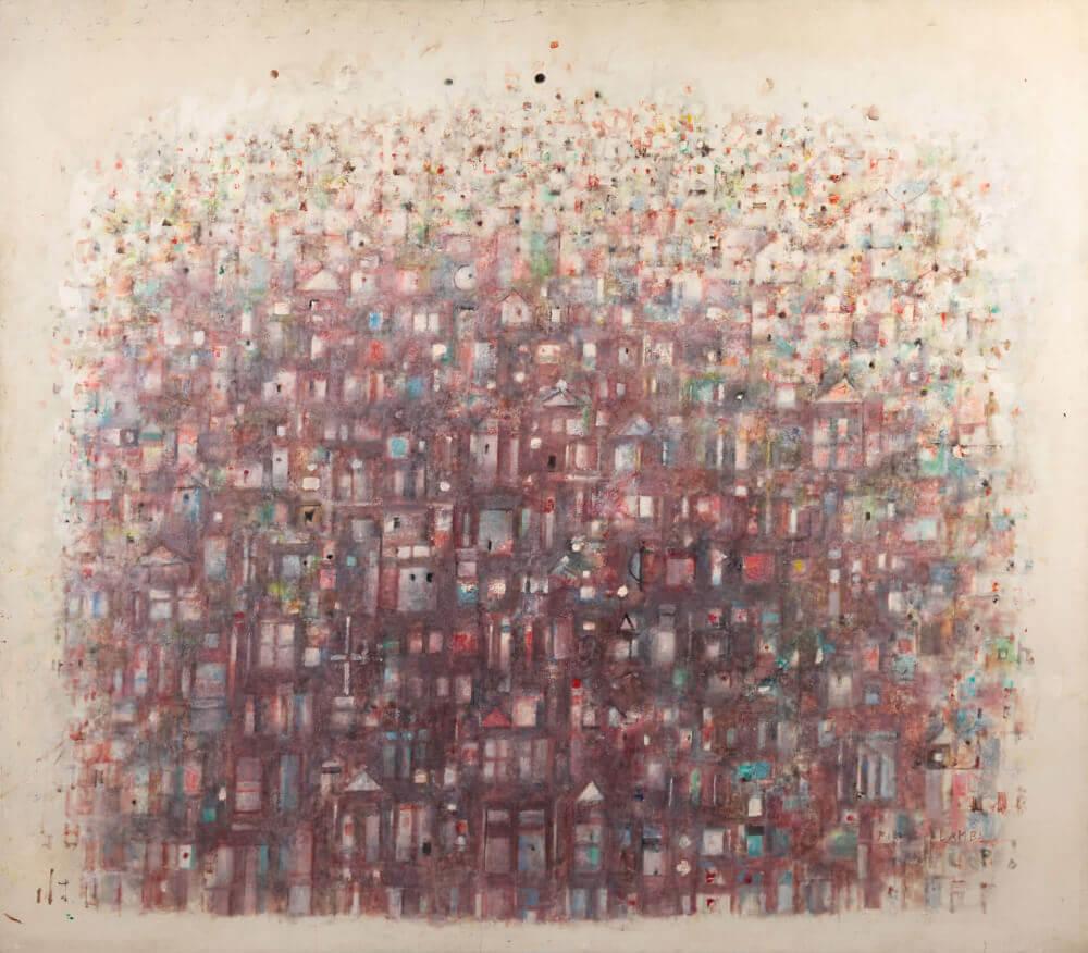 Ville rouge, 1970. Huile sur toile, 155 x 178,5 cm