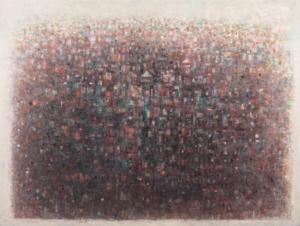 Sans titre (Ville de nuit), 1970. Huile sur toile, 91 x 120 cm