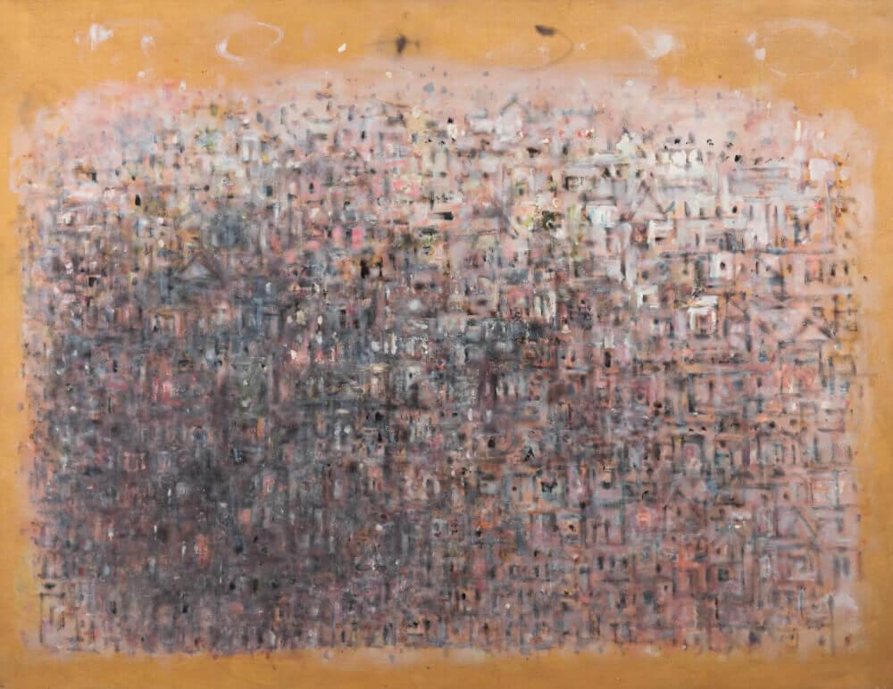 Sans titre (Ville ocre rose), 1970. Huile sur toile, 94,5 x 121,5 cm