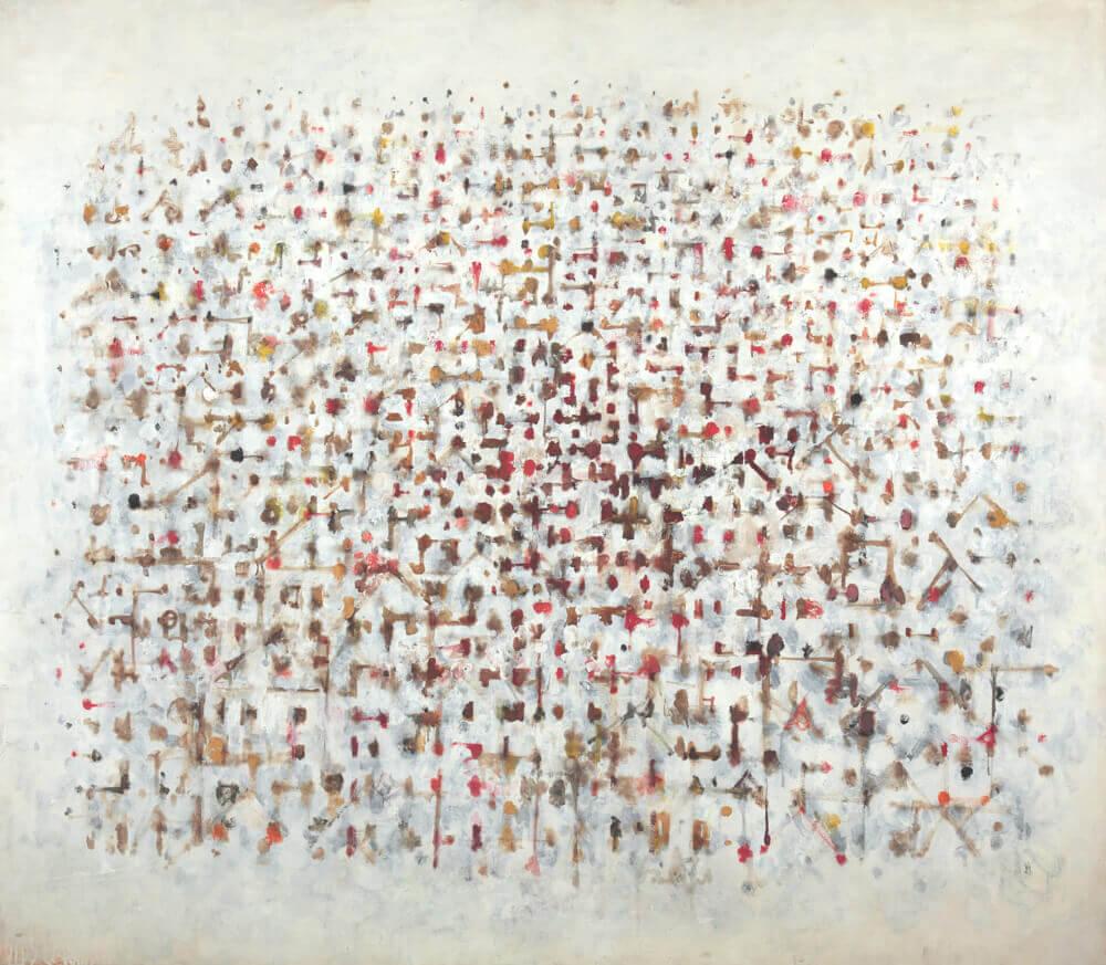 Sans titre (Ville de jour pointilliste), 1980. Huile sur toile, 108 x 125,5 cm